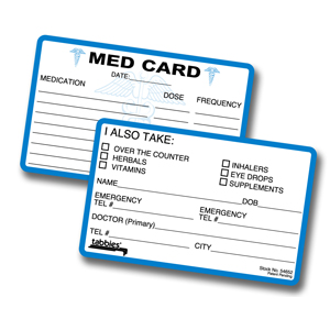 In case of emergency card template for Medical alert wallet card template